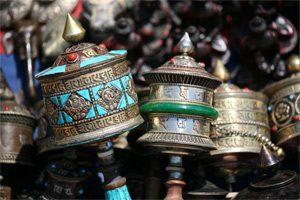 Gebetsmühlen auf dem Markt in Thamel