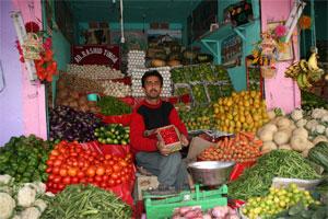 Händler auf den Markt von Leh