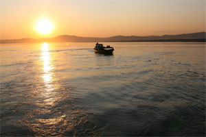 Ankunft mit dem Boot in Bagan