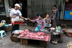 Fleischverkauf in Yangon