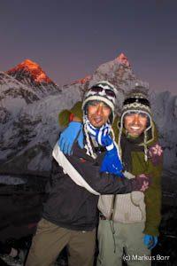 Gipfelbild auf dem Kala Patthar im Hintergrund Everest