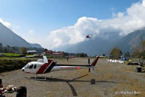 Hubschrauber in Lukla