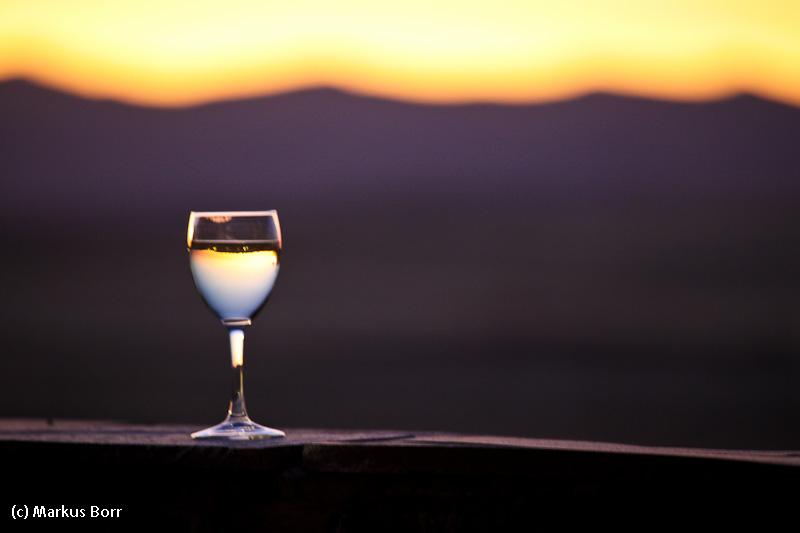 Abendstimmung bei einem Glas Wein
