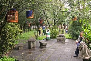 Garten mit Vogelkäfigen